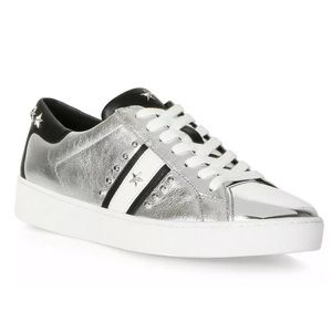 MICHAEL KORS Silver Black Studded Fashion Sneakers